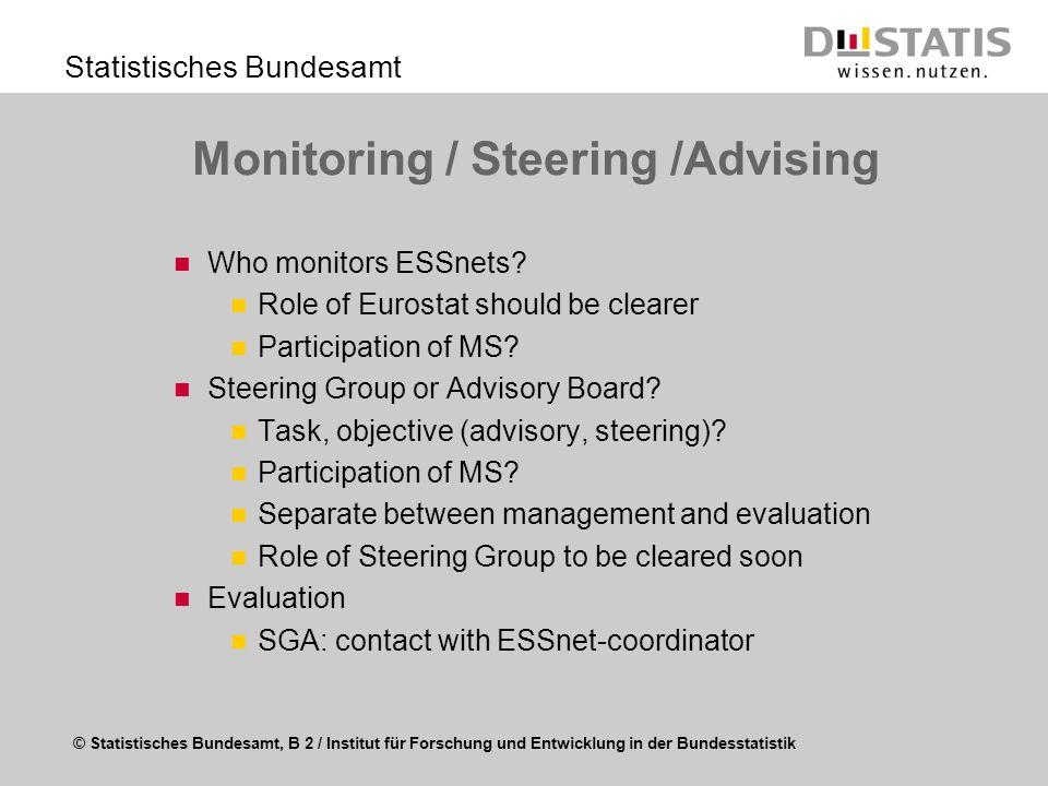 © Statistisches Bundesamt, B 2 / Institut für Forschung und Entwicklung in der Bundesstatistik Statistisches Bundesamt Monitoring / Steering /Advising
