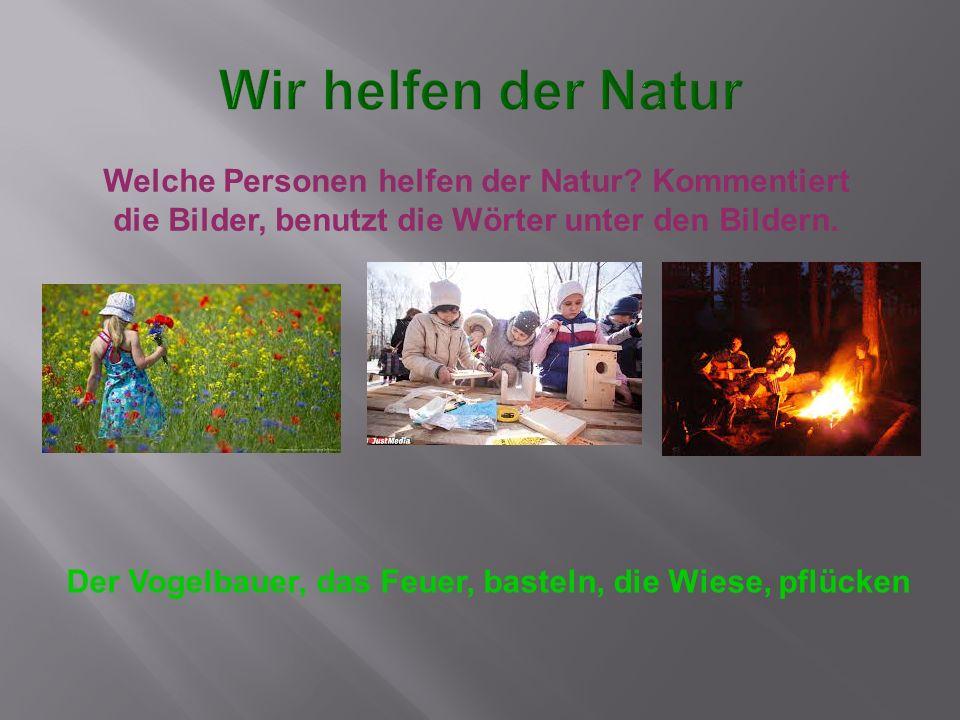 Welche Personen helfen der Natur? Kommentiert die Bilder, benutzt die Wörter unter den Bildern. Der Vogelbauer, das Feuer, basteln, die Wiese, pflücke