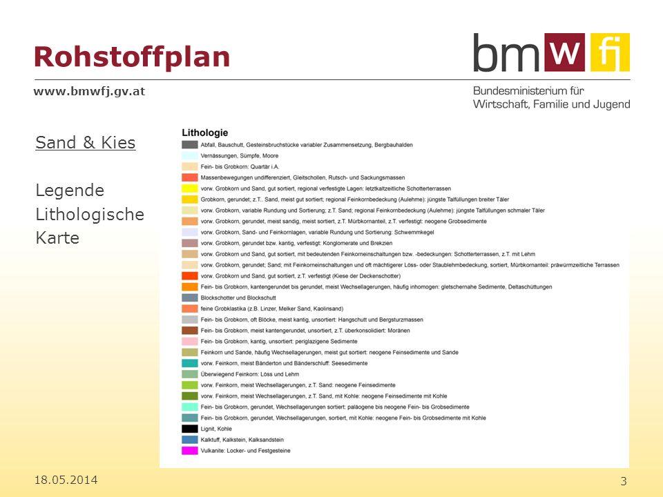 www.bmwfj.gv.at Rohstoffplan 18.05.2014 4 Sand & Kies Eignungskarte: 1 (beste) bis 5 (schlechteste) Eignung