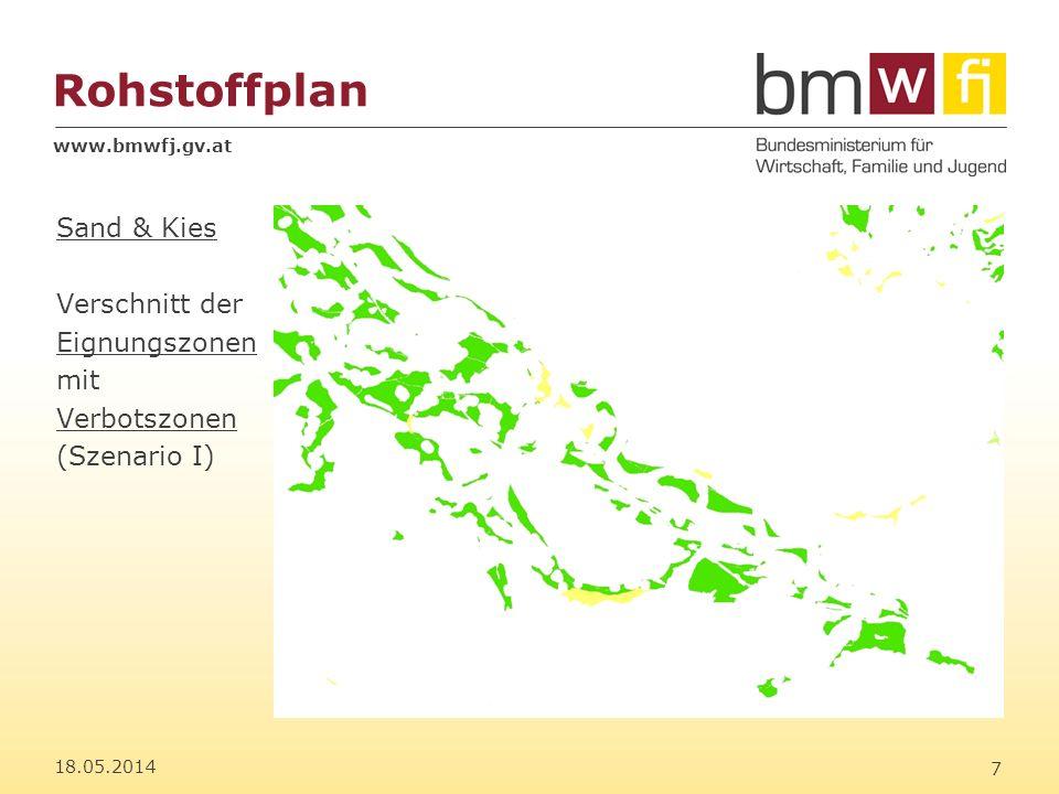 www.bmwfj.gv.at Rohstoffplan 18.05.2014 8 Sand & Kies Überlagerung mit Konfliktzonen wie Natura2000- Flächen, etc.