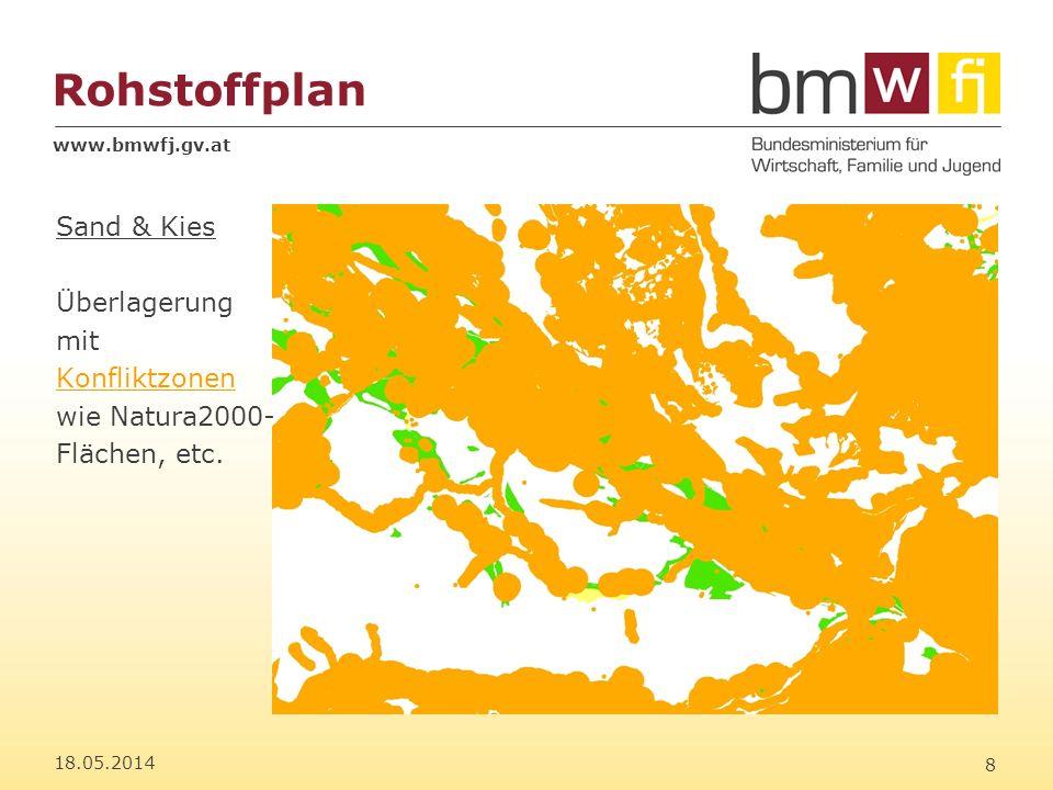 www.bmwfj.gv.at Rohstoffplan 18.05.2014 9 Sand & Kies Verschnitt der verbleibenden Eignungszonen mit Konfliktzonen (Szenario II)