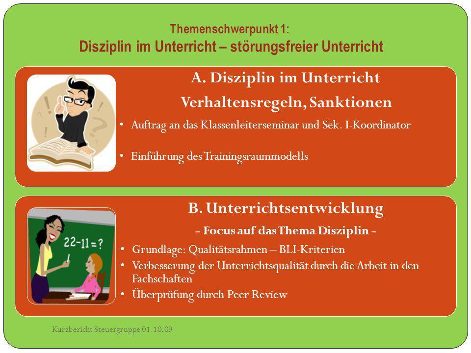 A. Disziplin im Unterricht Verhaltensregeln, Sanktionen Auftrag an das Klassenleiterseminar und Sek. I-Koordinator Einführung des Trainingsraummodells