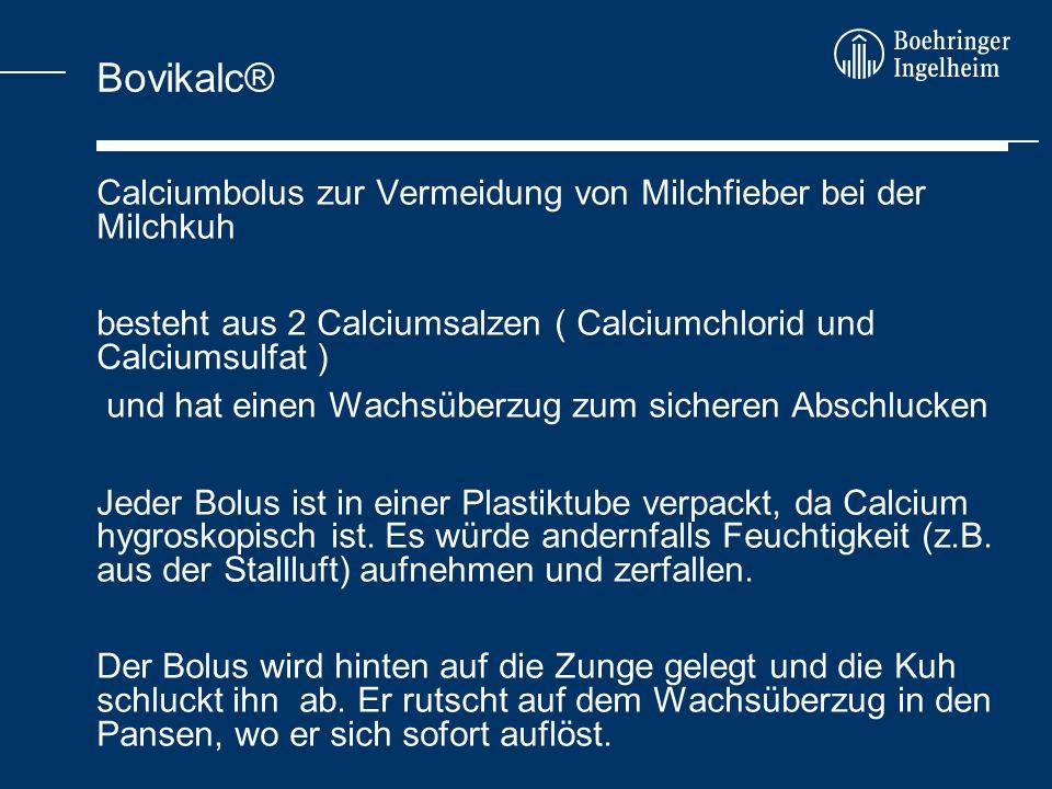 Calciumbolus zur Vermeidung von Milchfieber bei der Milchkuh besteht aus 2 Calciumsalzen ( Calciumchlorid und Calciumsulfat ) und hat einen Wachsüberz