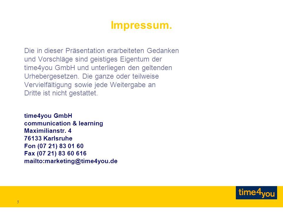5 Impressum. Die in dieser Präsentation erarbeiteten Gedanken und Vorschläge sind geistiges Eigentum der time4you GmbH und unterliegen den geltenden U