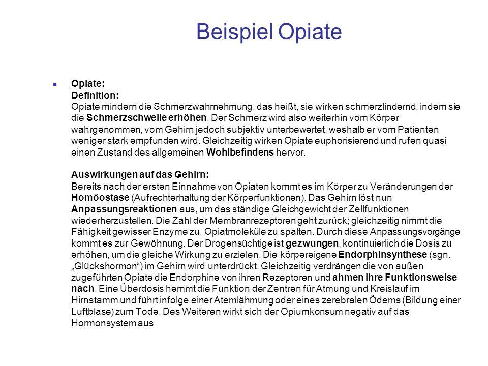 Beispiel Opiate Opiate: Definition: Opiate mindern die Schmerzwahrnehmung, das heißt, sie wirken schmerzlindernd, indem sie die Schmerzschwelle erhöhe