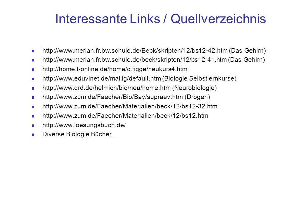 Interessante Links / Quellverzeichnis http://www.merian.fr.bw.schule.de/Beck/skripten/12/bs12-42.htm (Das Gehirn) http://www.merian.fr.bw.schule.de/be