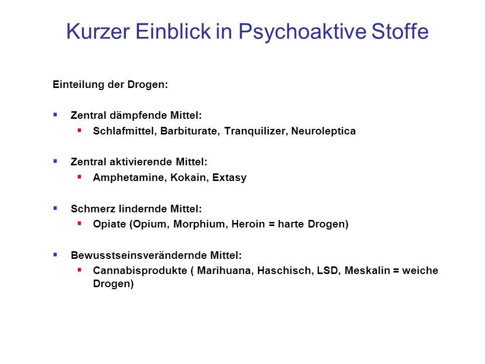 Kurzer Einblick in Psychoaktive Stoffe Einteilung der Drogen: Zentral dämpfende Mittel: Schlafmittel, Barbiturate, Tranquilizer, Neuroleptica Zentral