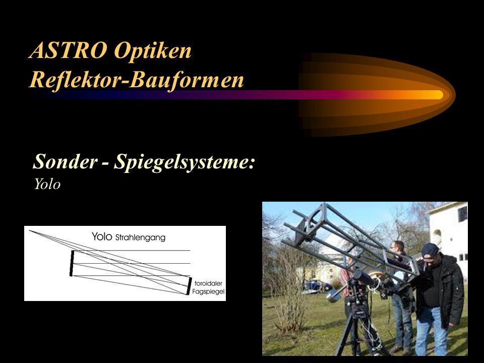 ASTRO Optiken Reflektor Bauformen Sonder - Spiegelsysteme: Schiefspiegler, Yolo, Herschel (Horizontalteleskop)