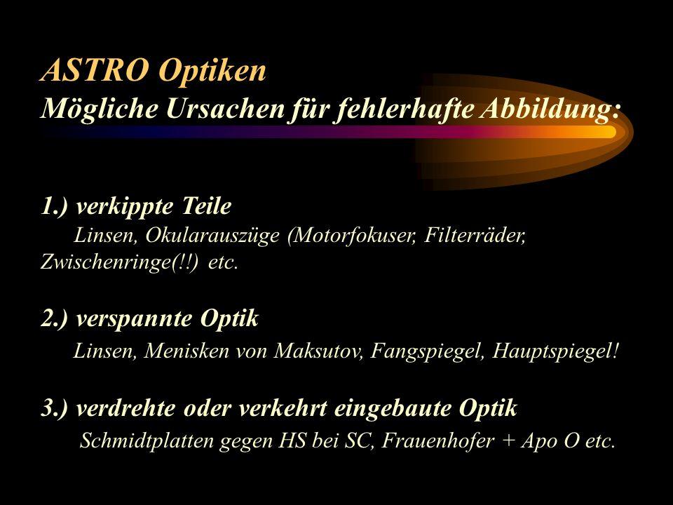 ASTRO Optiken Zusatzoptiken : Brennweitenverlängerung Barlow, Baader FFC, Projektive, Fotookulare Brennweitenverkürzung Shaply, Reducer-Flattener para