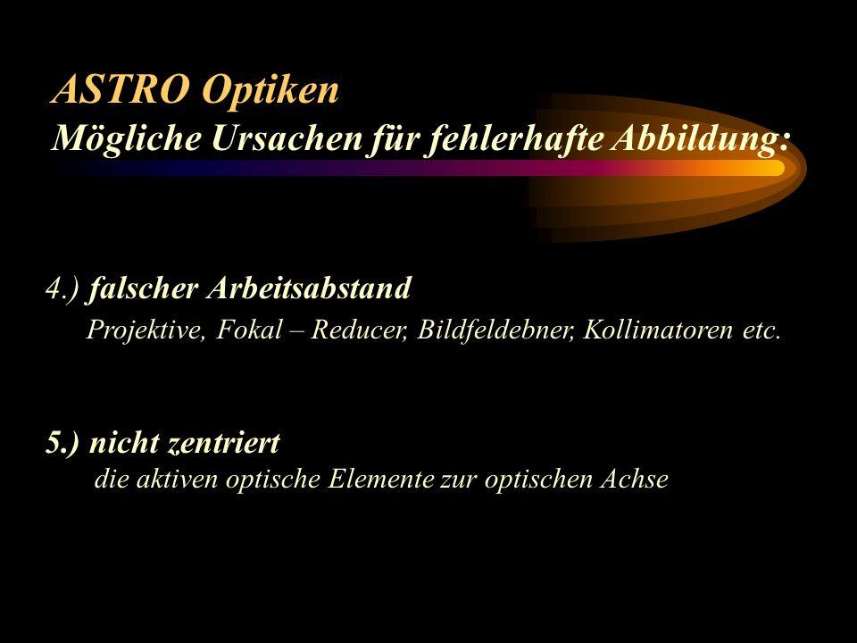 ASTRO Optiken Mögliche Ursachen für fehlerhafte Abbildung: 1.) verkippte Teile Linsen, Okularauszüge (Motorfokuser, Filterräder, Zwischenringe(!!) etc