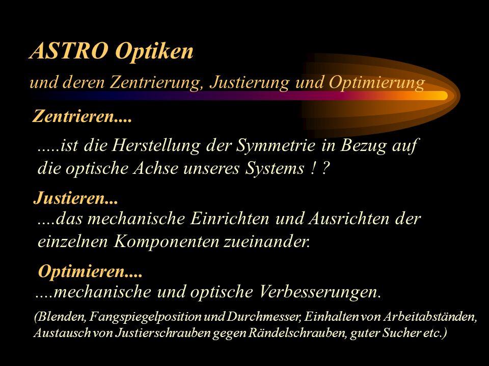 ASTRO Optiken Mögliche Ursachen für fehlerhafte Abbildung: 4.) falscher Arbeitsabstand Projektive, Fokal – Reducer, Bildfeldebner, Kollimatoren etc. 5