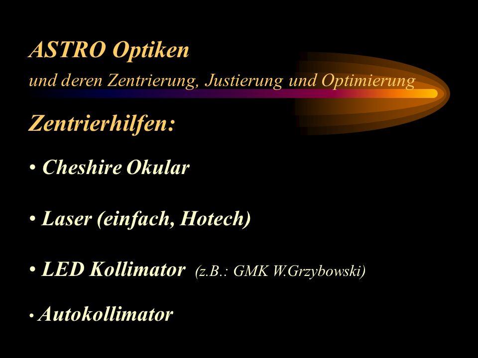 ASTRO Optiken und deren Zentrierung, Justierung und Optimierung Zentrieren.... Damian Peach