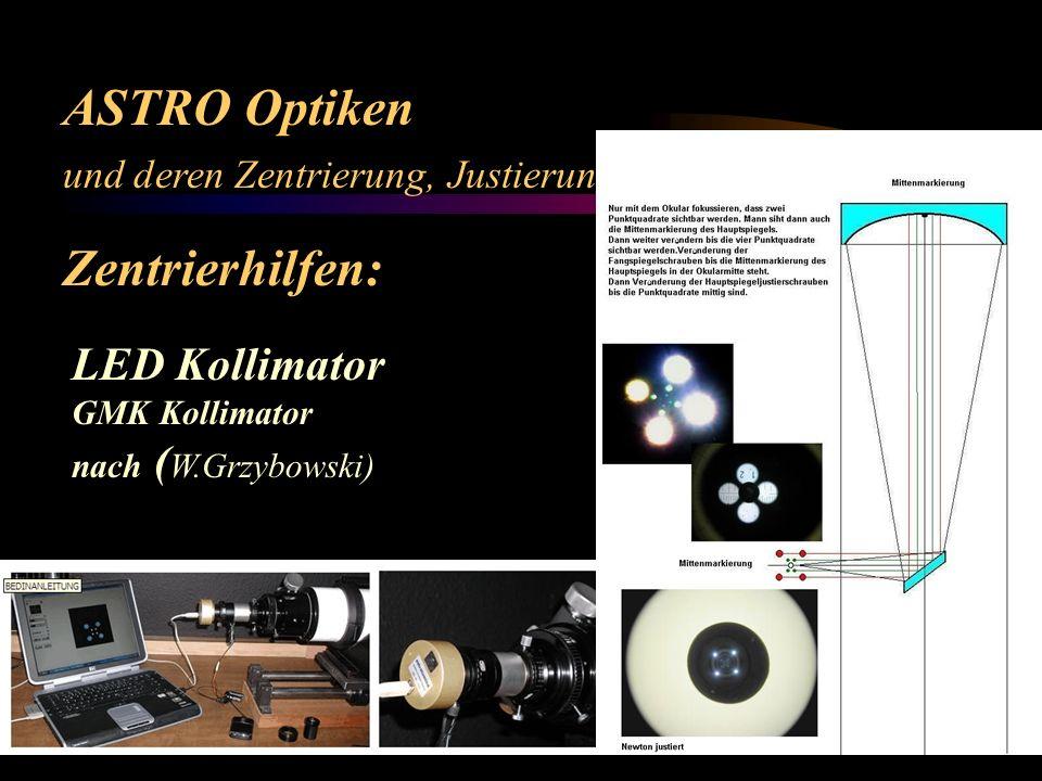 ASTRO Optiken und deren Zentrierung, Justierung und Optimierung Zentrierhilfen: LED Kollimator GMK Kollimator nach ( W.Grzybowski) ED Objektiv