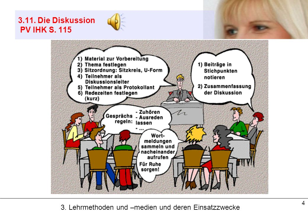 4 3.11. Die Diskussion PV IHK S. 115 3. Lehrmethoden und –medien und deren Einsatzzwecke