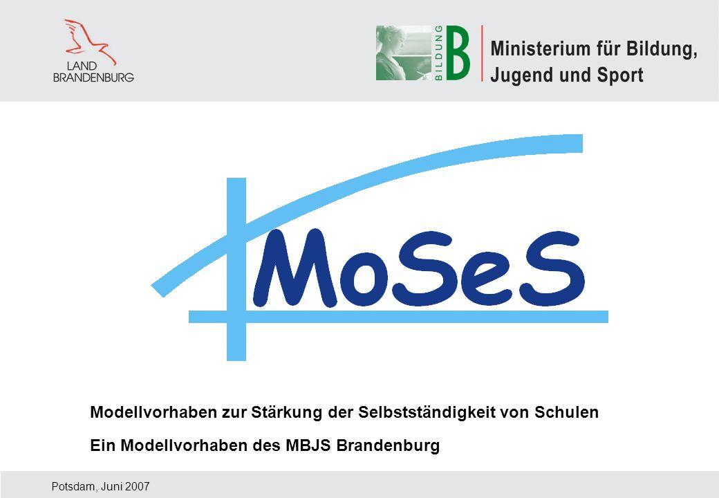 Modellvorhaben zur Stärkung der Selbstständigkeit von Schulen Potsdam, Juni 2007 Ein Modellvorhaben des MBJS Brandenburg