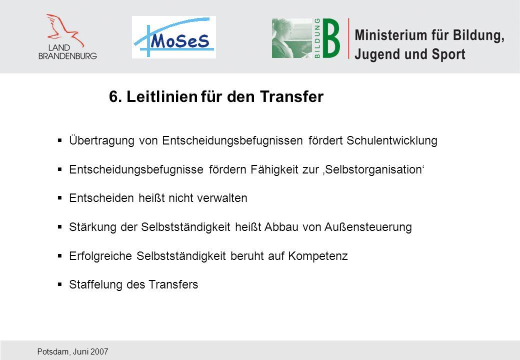 Potsdam, Juni 2007 Übertragung von Entscheidungsbefugnissen fördert Schulentwicklung Entscheidungsbefugnisse fördern Fähigkeit zur Selbstorganisation