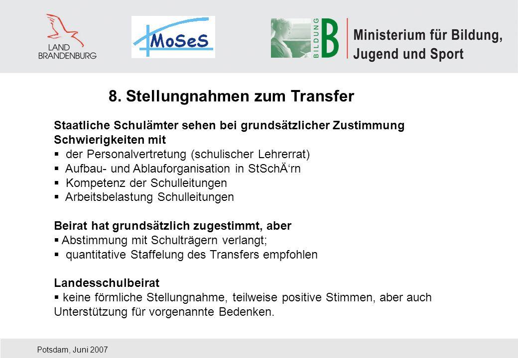 Potsdam, Juni 2007 8. Stellungnahmen zum Transfer Staatliche Schulämter sehen bei grundsätzlicher Zustimmung Schwierigkeiten mit der Personalvertretun