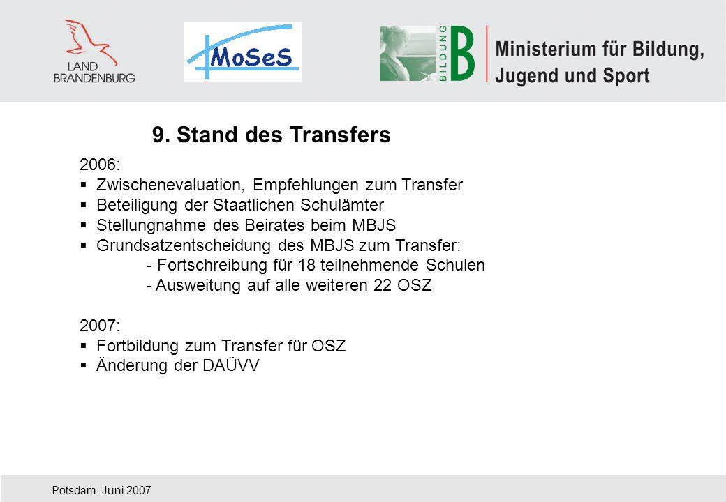 Potsdam, Juni 2007 2006: Zwischenevaluation, Empfehlungen zum Transfer Beteiligung der Staatlichen Schulämter Stellungnahme des Beirates beim MBJS Gru