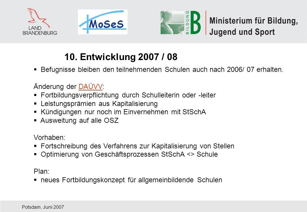 Potsdam, Juni 2007 Befugnisse bleiben den teilnehmenden Schulen auch nach 2006/ 07 erhalten. Änderung der DAÜVV:DAÜVV Fortbildungsverpflichtung durch