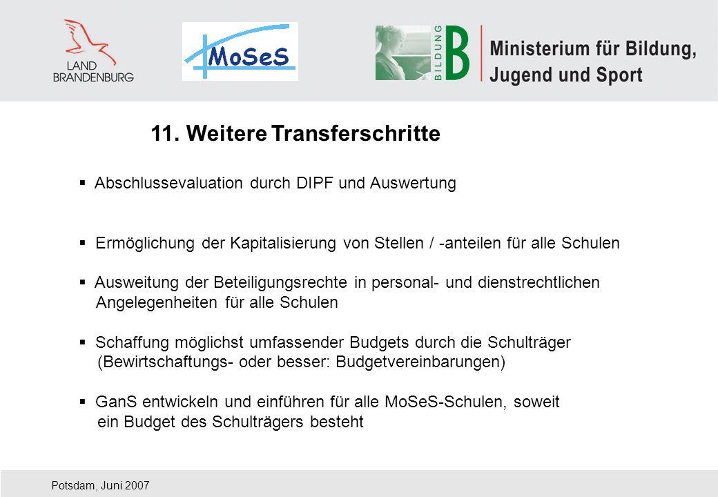 Potsdam, Juni 2007 11. Weitere Transferschritte Abschlussevaluation durch DIPF und Auswertung Ermöglichung der Kapitalisierung von Stellen / -anteilen