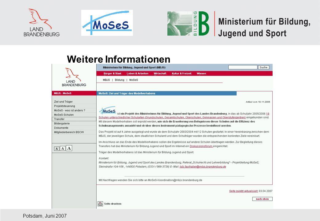 Potsdam, Juni 2007 Weitere Informationen