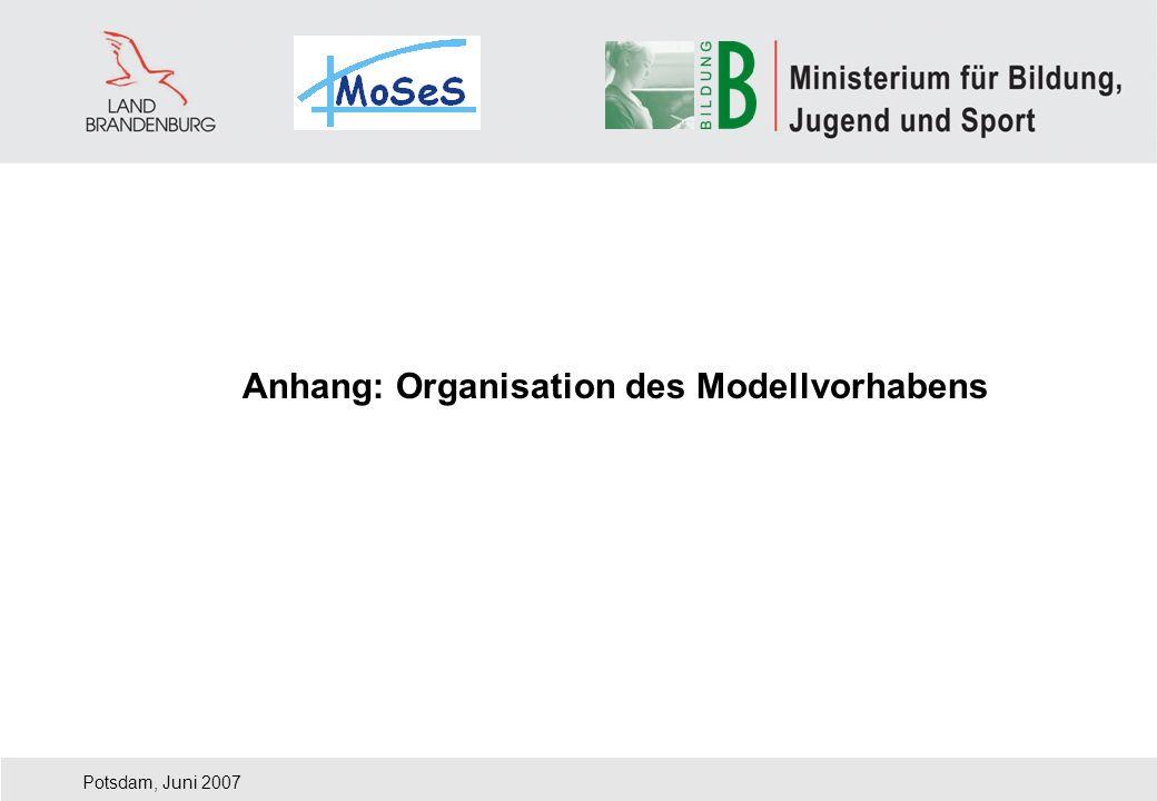 Potsdam, Juni 2007 Anhang: Organisation des Modellvorhabens