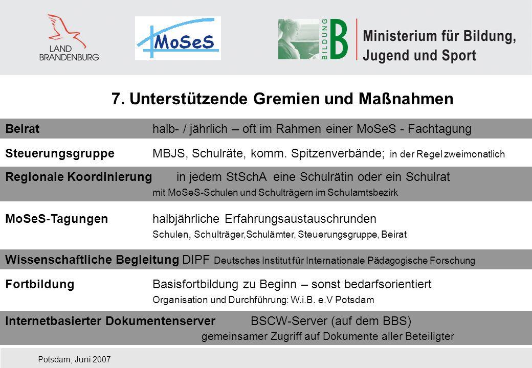 Potsdam, Juni 2007 7. Unterstützende Gremien und Maßnahmen Beirathalb- / jährlich – oft im Rahmen einer MoSeS - Fachtagung SteuerungsgruppeMBJS, Schul