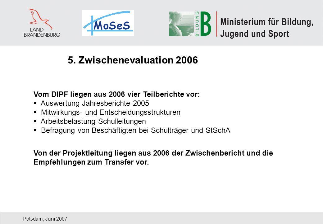 Vom DIPF liegen aus 2006 vier Teilberichte vor: Auswertung Jahresberichte 2005 Mitwirkungs- und Entscheidungsstrukturen Arbeitsbelastung Schulleitunge