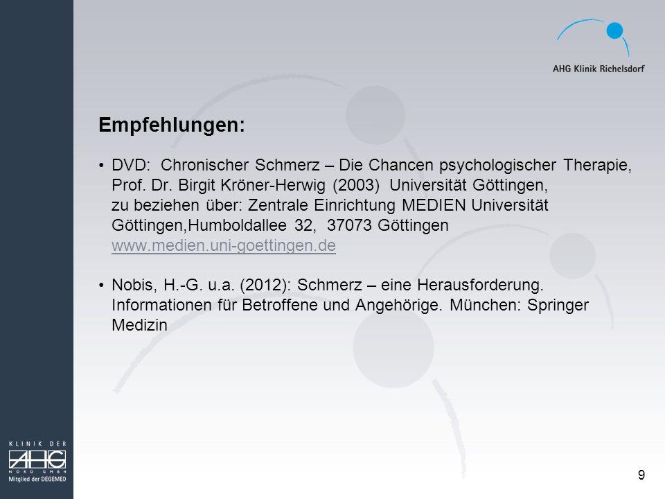 9 Empfehlungen: DVD: Chronischer Schmerz – Die Chancen psychologischer Therapie, Prof. Dr. Birgit Kröner-Herwig (2003) Universität Göttingen, zu bezie