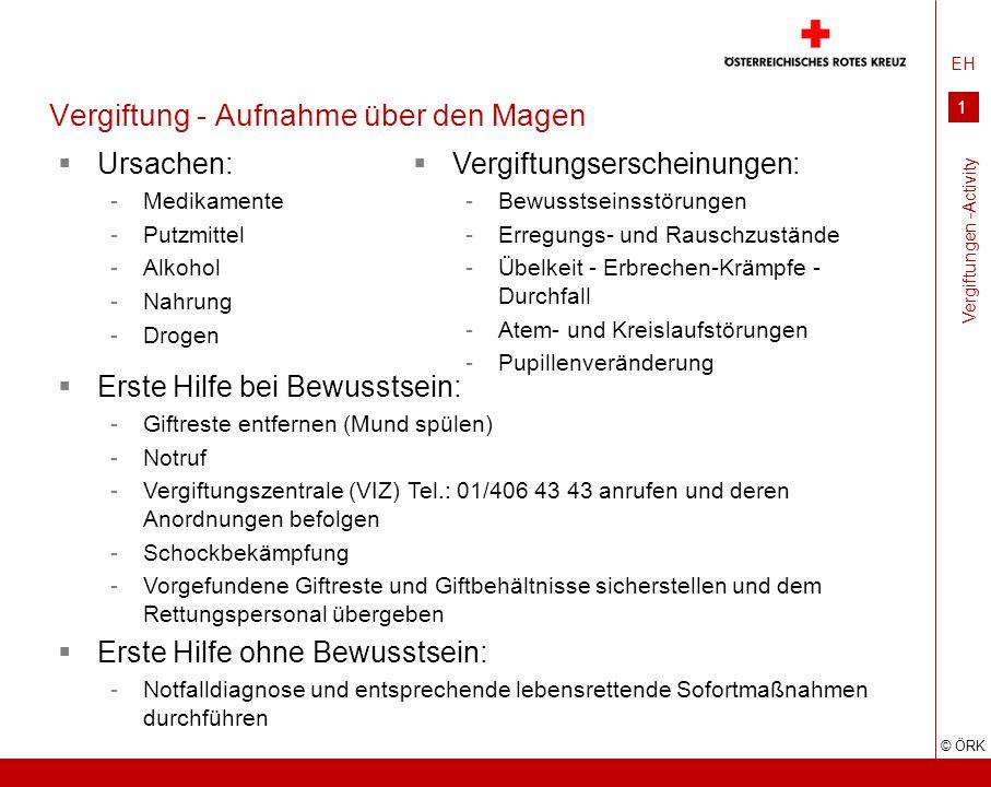 EH © ÖRK 1 Vergiftung - Aufnahme über den Magen Ursachen: -Medikamente -Putzmittel -Alkohol -Nahrung -Drogen Vergiftungen -Activity Vergiftungserschei