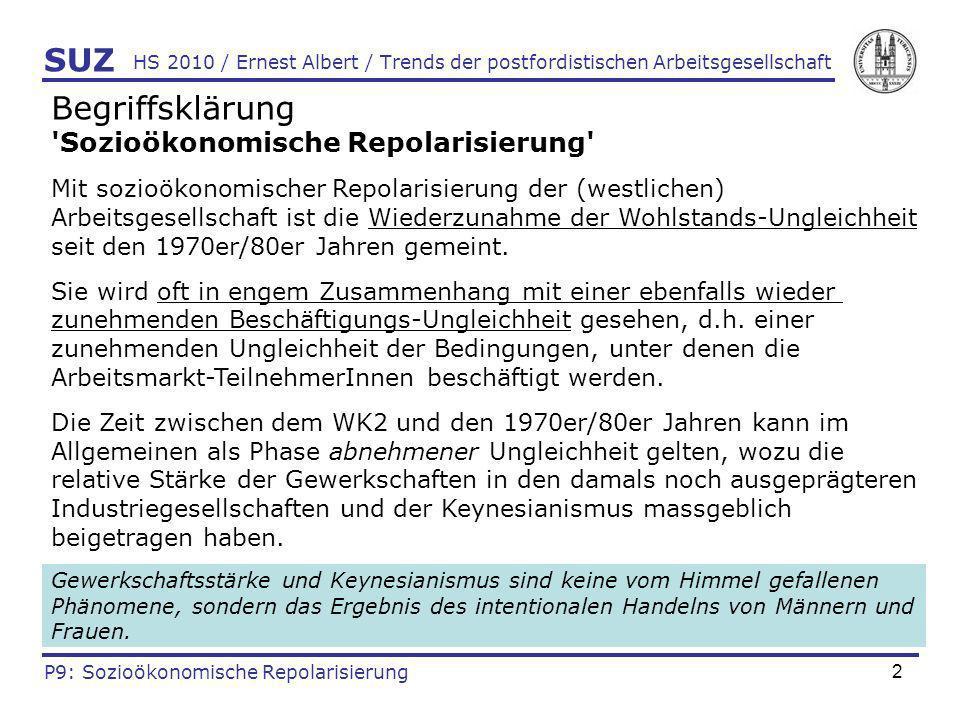 23 HS 2010 / Ernest Albert / Trends der postfordistischen Arbeitsgesellschaft Ergebnisbezogene Empirie VIII (Mäder & Streuli 2002) Kanton Zürich: Entwicklung des Einkommens-Anteils des einkommensstärksten Haushaltprozentes 1983-1995 (bis Mitte der 1980er Jahre noch gesunken) SUZ P9: Sozioökonomische Repolarisierung