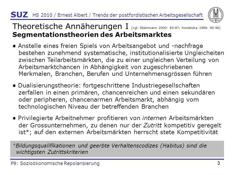 3 HS 2010 / Ernest Albert / Trends der postfordistischen Arbeitsgesellschaft Theoretische Annäherungen I (vgl. Steinmann 2000: 83-87; Konietzka 1999: