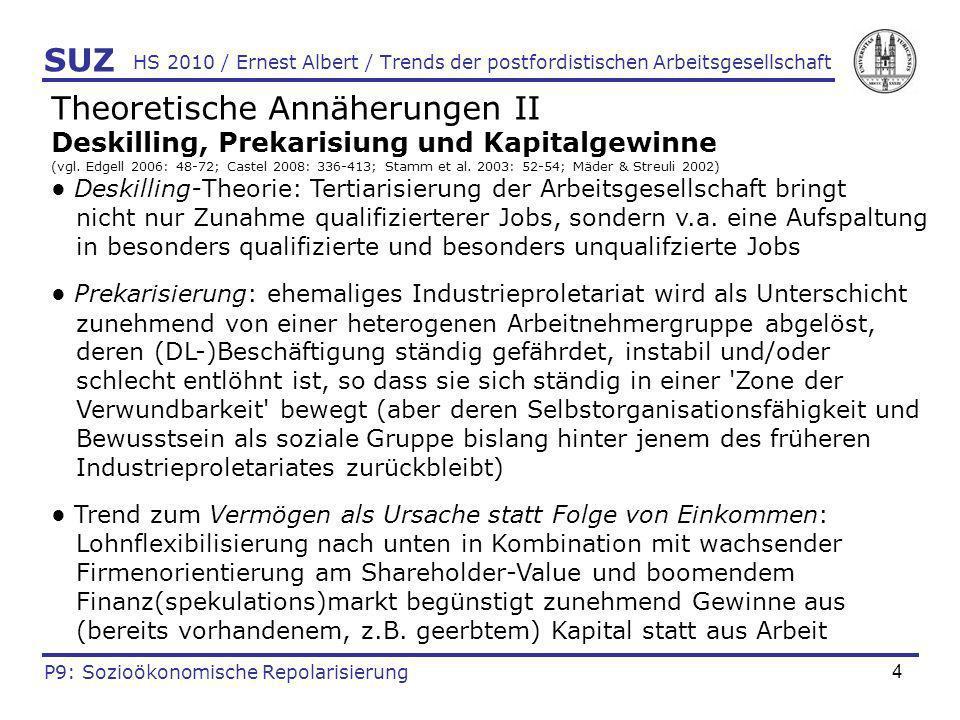 4 HS 2010 / Ernest Albert / Trends der postfordistischen Arbeitsgesellschaft Theoretische Annäherungen II Deskilling, Prekarisiung und Kapitalgewinne