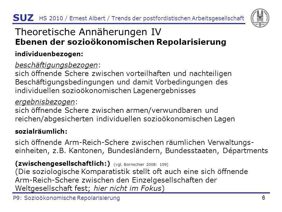 6 HS 2010 / Ernest Albert / Trends der postfordistischen Arbeitsgesellschaft Theoretische Annäherungen IV Ebenen der sozioökonomischen Repolarisierung
