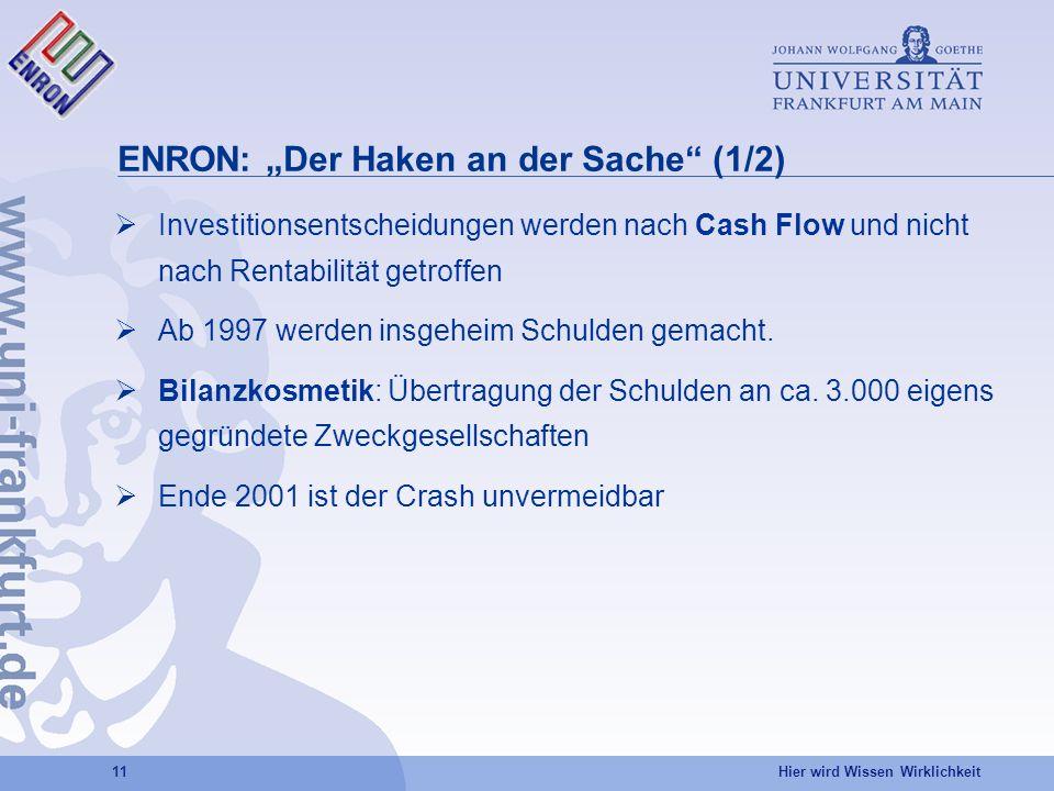 Hier wird Wissen Wirklichkeit 11 ENRON: Der Haken an der Sache (1/2) Investitionsentscheidungen werden nach Cash Flow und nicht nach Rentabilität getroffen Ab 1997 werden insgeheim Schulden gemacht.