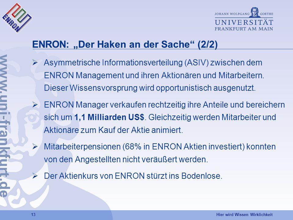 Hier wird Wissen Wirklichkeit 13 ENRON: Der Haken an der Sache (2/2) Asymmetrische Informationsverteilung (ASIV) zwischen dem ENRON Management und ihren Aktionären und Mitarbeitern.