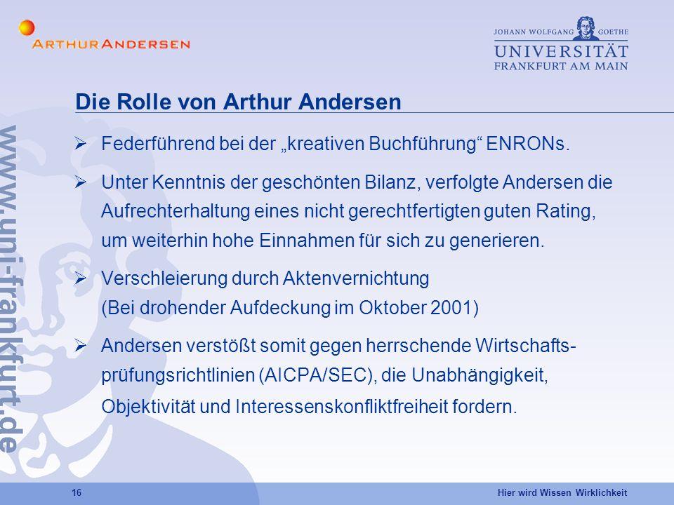 Hier wird Wissen Wirklichkeit 16 Die Rolle von Arthur Andersen Federführend bei der kreativen Buchführung ENRONs.