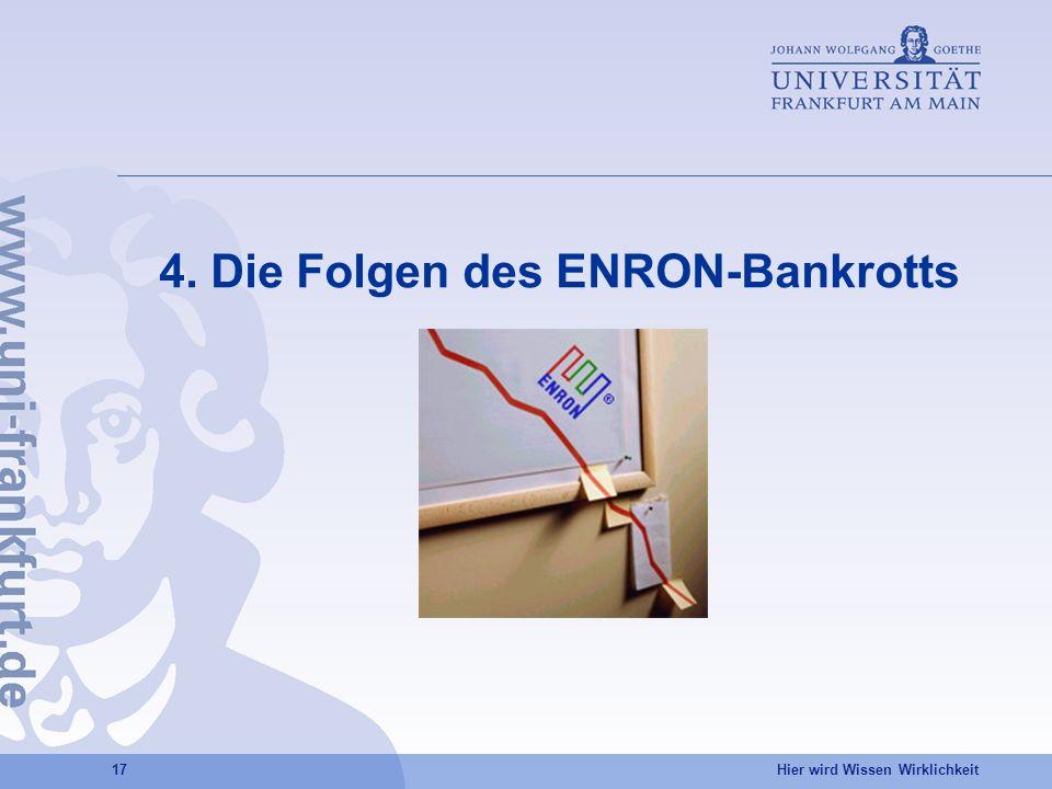 Hier wird Wissen Wirklichkeit 17 4. Die Folgen des ENRON-Bankrotts