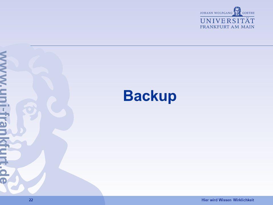 Hier wird Wissen Wirklichkeit 22 Backup