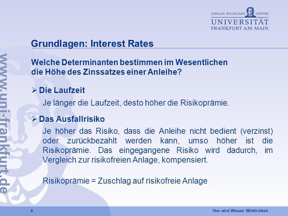Hier wird Wissen Wirklichkeit 4 Grundlagen: Interest Rates Die Laufzeit Je länger die Laufzeit, desto höher die Risikoprämie.