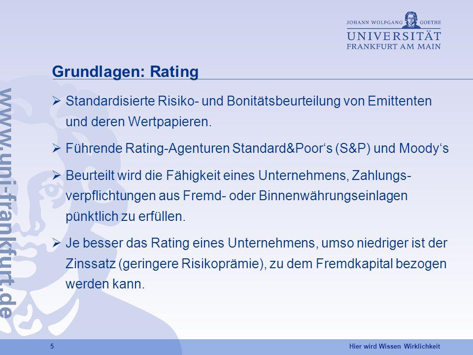 Hier wird Wissen Wirklichkeit 6 Ratingsysteme: S&P und Moodys AAA:Unternehmen mit hervorragender Bonität und geringstem Risiko.