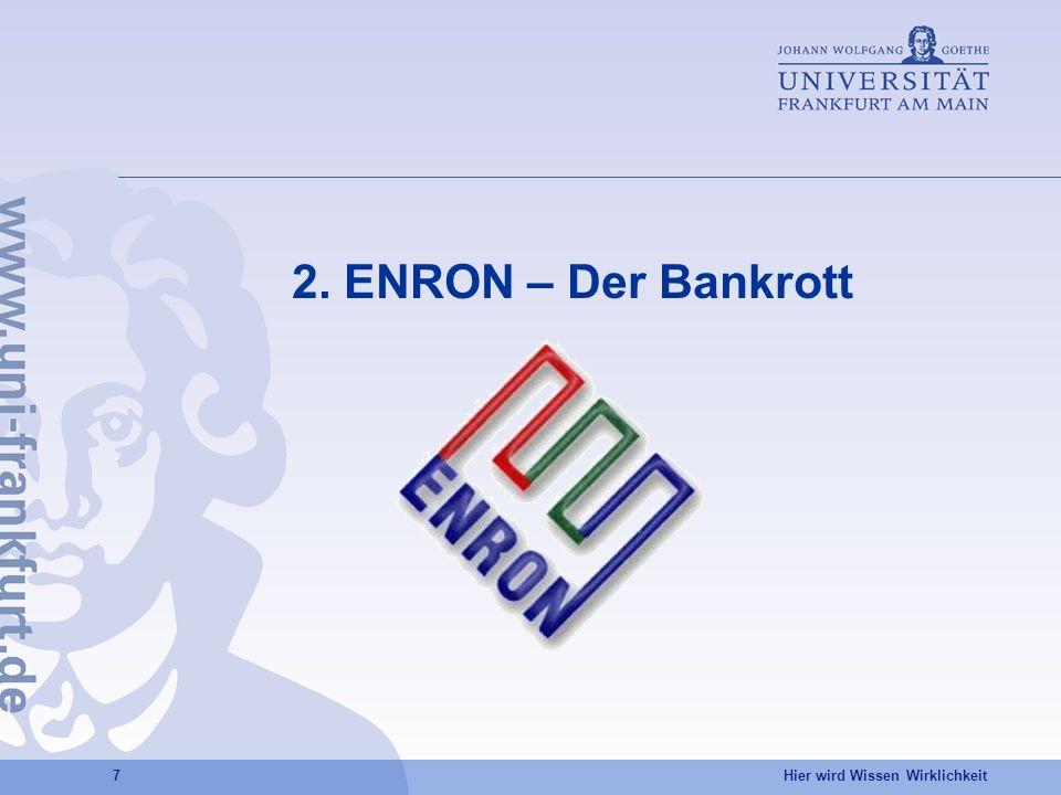 Hier wird Wissen Wirklichkeit 7 2. ENRON – Der Bankrott