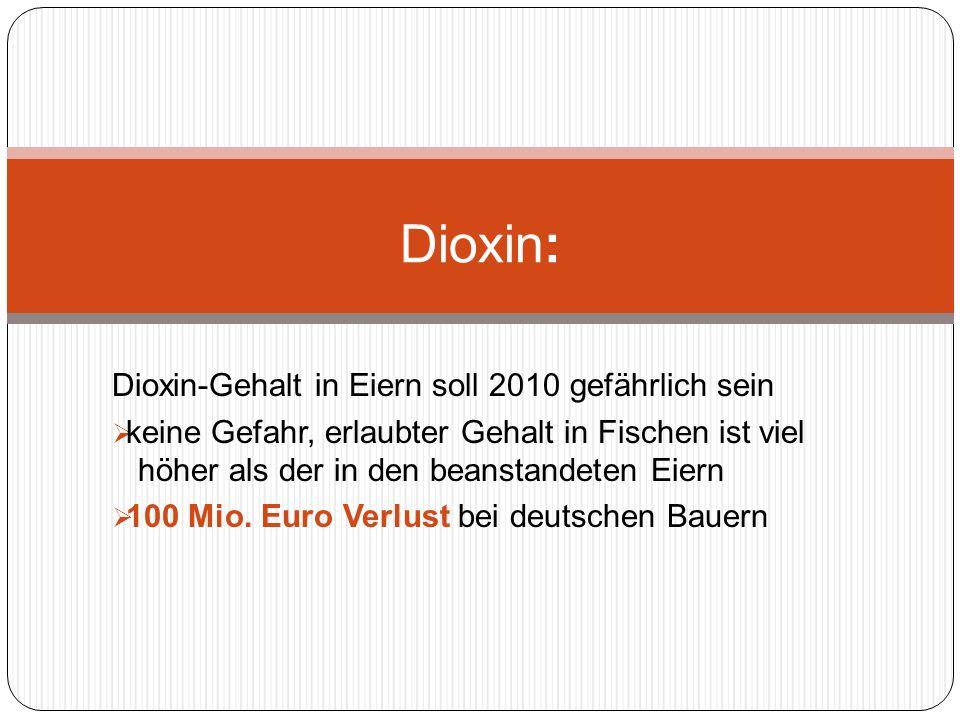 Dioxin-Gehalt in Eiern soll 2010 gefährlich sein keine Gefahr, erlaubter Gehalt in Fischen ist viel höher als der in den beanstandeten Eiern 100 Mio.
