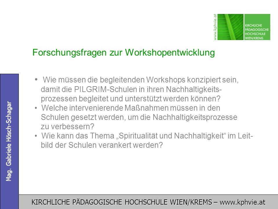 KIRCHLICHE PÄDAGOGISCHE HOCHSCHULE WIEN/KREMS – www.kphvie.at Mag. Gabriele Hösch-Schagar Forschungsfragen zur Workshopentwicklung Wie müssen die begl