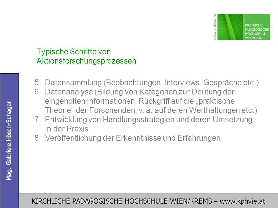 KIRCHLICHE PÄDAGOGISCHE HOCHSCHULE WIEN/KREMS – www.kphvie.at Mag. Gabriele Hösch-Schagar Typische Schritte von Aktionsforschungsprozessen 5. 5.Datens