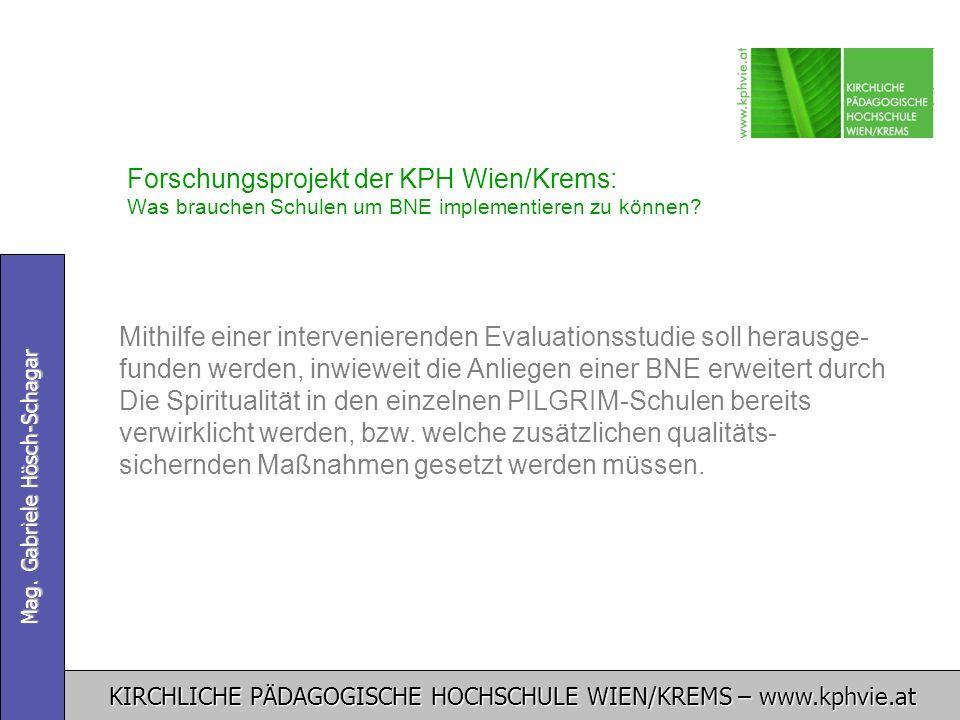 KIRCHLICHE PÄDAGOGISCHE HOCHSCHULE WIEN/KREMS – www.kphvie.at Mag. Gabriele Hösch-Schagar Forschungsprojekt der KPH Wien/Krems: Was brauchen Schulen u