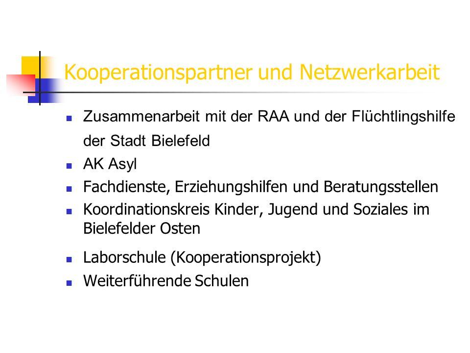 Kooperationspartner und Netzwerkarbeit Zusammenarbeit mit der RAA und der Flüchtlingshilfe der Stadt Bielefeld AK Asyl Fachdienste, Erziehungshilfen u