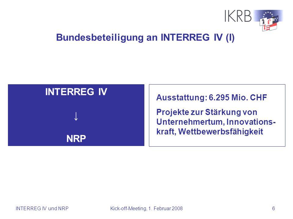 INTERREG IV und NRPKick-off-Meeting, 1. Februar 20086 INTERREG IV NRP Bundesbeteiligung an INTERREG IV (I) Ausstattung: 6.295 Mio. CHF Projekte zur St