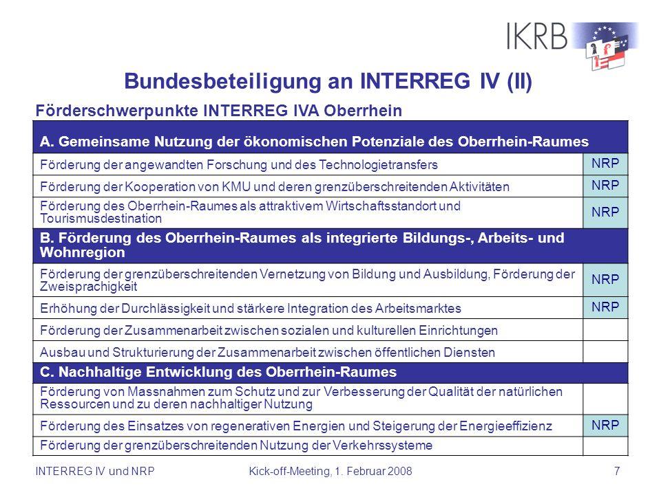 INTERREG IV und NRPKick-off-Meeting, 1. Februar 20087 A. Gemeinsame Nutzung der ökonomischen Potenziale des Oberrhein-Raumes Förderung der angewandten