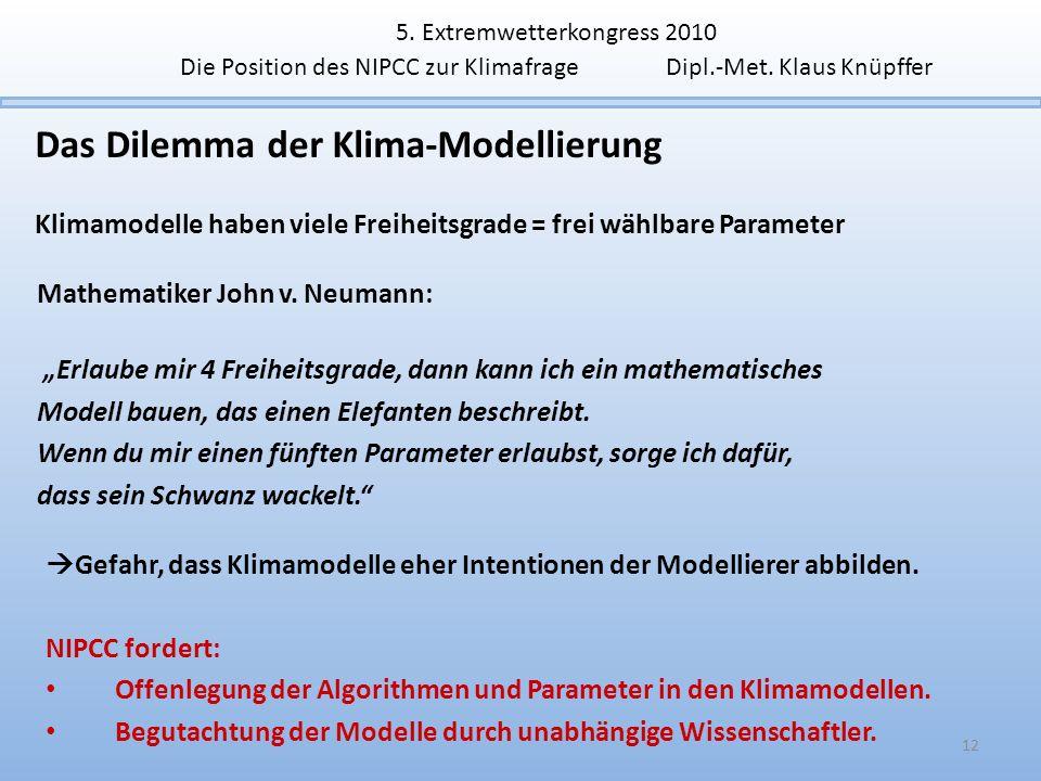 Das Dilemma der Klima-Modellierung Klimamodelle haben viele Freiheitsgrade = frei wählbare Parameter 12 Mathematiker John v. Neumann: Erlaube mir 4 Fr